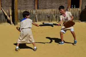 Roman Gladiator School: Learn How to fight like a Gladiator dressed in a traditional gladiator gear